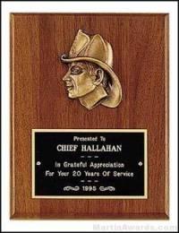 Plaque - Fireman Award Plaques with Cast Fireman