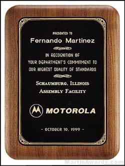 Plaque - Walnut Plaque w/Black Brass Plate with Gold Border