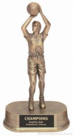 Female Basketball Gold Resin Trophy