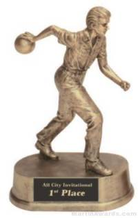 Male Bowling Gold Resin Trophy