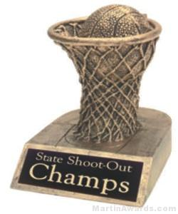 Basketball and Net Gold Resin Trophy 1