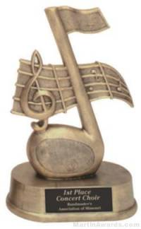 Music Note Gold Resin Trophies