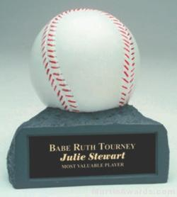 White Baseball On Base Gold Resin Trophy 1