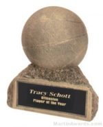 Basketball On Base Gold Resin Trophy