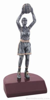 Female Basketball Silver Resin Trophy