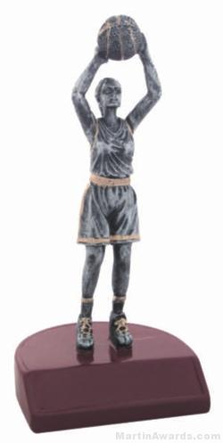 Female Basketball Silver Resin Trophy 1
