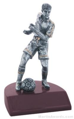 Male Soccer Silver Resin Trophy 1