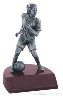 Female Soccer Silver Resin Trophy 1