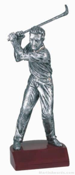 Male Golf Silver Resin Trophy 1