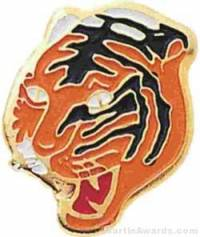 "1 1/16"" Enameled Tiger Mascot Pin"