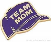 "7/8"" Etched Soft Enamel Team Mom Chenille Letter Pin"