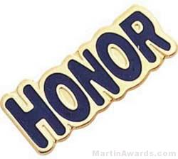 1″ Etched Soft Enamel Honor Chenille Letter Pin 1