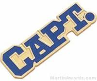 "1 1/8"" Etched Soft Enamel Captain Chenille Letter Pin"