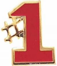 "5/8"" Etched Soft Enamel Red #1 Chenille Letter Pin"