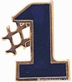 5/8″ Etched Soft Enamel Blue #1 Chenille Letter Insert 1