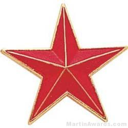 7/8″ Etched Soft Enamel Red Star Chenille Letter Pin 1