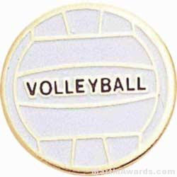 3/4″ Etched Soft Enamel Volleyball Chenille Letter Pin 1
