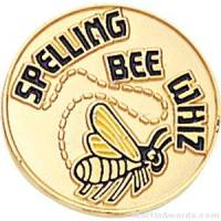 "3/4"" Spelling Bee Whiz Round Enameled Lapel Pins"