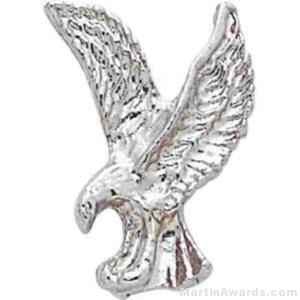 "1"" Sculptured Eagle Silver Matte Finish Pin"