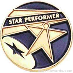 3/4″ Star Performer Round Enameled Lapel Pins 1