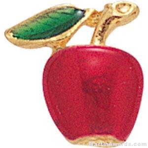 "3/8"" Apple Shaped Enameled Custom Lapel Pins"