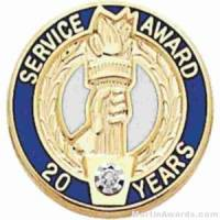 "3/4"" Service Recognition Award Pins 30 Years with Diamond"
