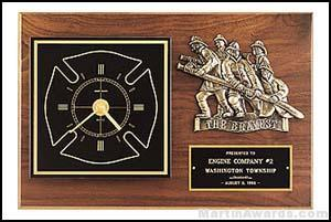 Plaque – Clock with Fireman Castings and Engravable Plate 1