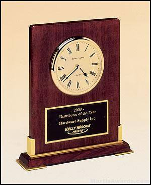 Desktop Clock Award - Rosewood Piano-Finish Wood Clock Award with Gold Accents