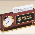 Desktop Clock Award – Combination Clock/Business Card Holders In Rosewood Finish with Gold Accents 1
