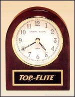 Desktop Clock Award - Rosewood Piano-Finish Desk Clock with Engravable Plate