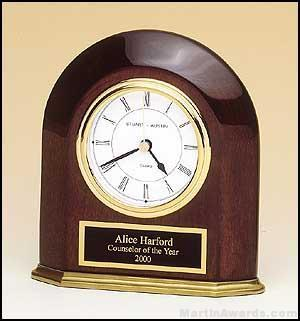 Clock Award – Rosewood Piano-Finish Arched Table Clock with Solid Brass Base