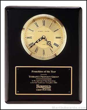 Clock Plaque Award – Black Piano-Finish Wall Clock Plaque Award with Glass Lens 1