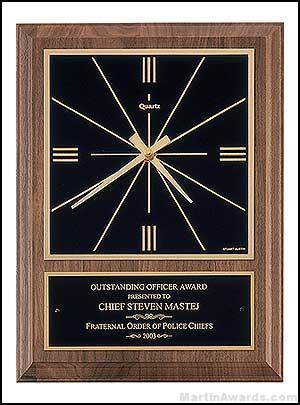 Clock Plaque Award – American Walnut Wall Clocks 1