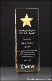 Acrylic Awards - Constellation Series Acrylic Award - Etched Star with Gold Paint Fill and Mirrored