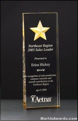 Acrylic Awards – Constellation Series Acrylic Award – Etched Star with Gold Paint Fill and Mirrored 1