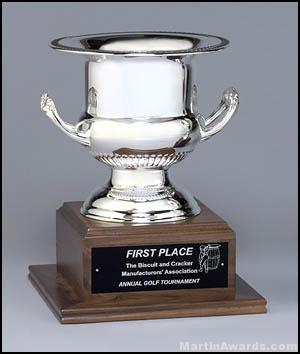 Trophy Cup On Solid Walnut Base 1